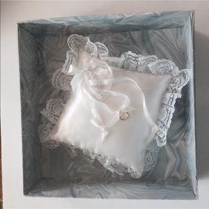 Vintage Square Wedding Ring Bearer Pillow